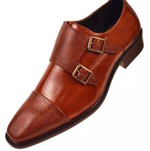 Bolano Mens Cognac Double Monk Strap Dress Shoe Pebble Emboss Bancroft-215
