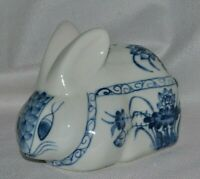 Vintage Blue White Rabbit Penny Bank Lotus  Flower Hand Painted Design Thailand