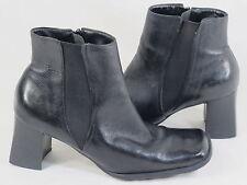 Diana Ferrari Black Leather Fashion Ankle Boots Size 8.5 M US Excellent Brazil