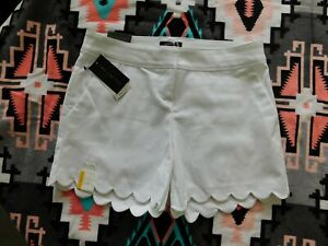 NWT The Limited Solid White Scalloped Tailored Shorts - Size 8