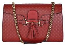 NEW Gucci Women's 449635 Red Micro GG Guccissima Leather Emily Purse Handbag