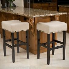 (Set of 2) Contemporary Backless Beige Linen Counter Stools w/ Nailhead Accents