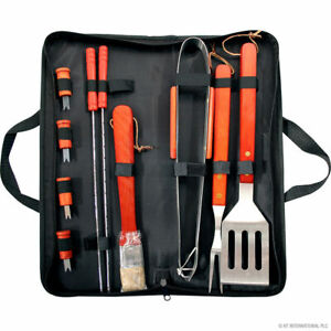 11PC BBQ BARBECUE GRILLING SET OUTDOOR CAMPING PICNIC CARRY CASE UTENSILS NEW