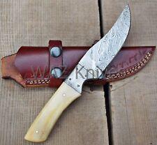 CUSTOM HANDMADE DAMASCUS HUNTING KNIFE W CAMLE BON HANDLE & LEATHER SHEATH WK-21