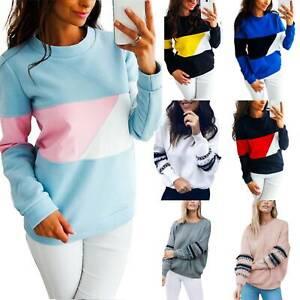 Womens Long Sleeve Hooded Sweatshirt Jumper Ladies Casual Hoodies Pullover Tops