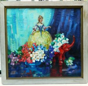 "ART DECO 1928 ""NEW ORLEANS BELLE"" LARGE OIL STILL LIFE - SIGNED"