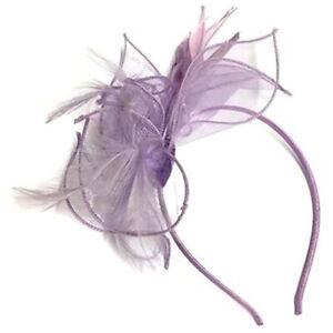 Lilac Chiffon Mesh Feather Hair Fascinator - Aliceband Headband Fascinator