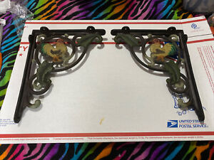 "Pair Cast Iron ROOSTER WALL SHELF BRACKETS 8"" x 10"" Cicken Leaves Ivy painted"