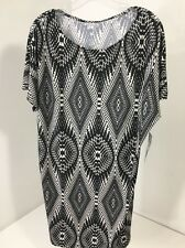 ROCK 47 BY WRANGLER WOMEN'S PRINTED WEDGE DRESS BLACK/WHITE MEDIUM NWT $40