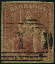 "Barbados 1858 ""Sitzende Britannia"" geschnitten, MiNr 4 gestempelt  used"