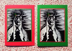 5 Handmade Llama and Holly Christmas Cards Block Print Linocut Holiday Card Set