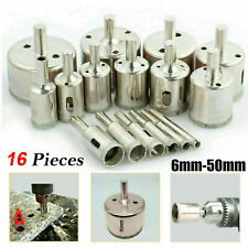 15 pcs 6-50mm Diamond Tool Drill Bit Hole Saw Set Glass Ceramic Marble Tile Kit