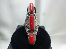 VINTAGE CUSTOM MADE STERLING SILVER RING WITH RED CORAL ACCENTS V/G COND. SIZE 8