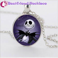 Nightmare Before Christmas skull balck  jack and cat silver necklace #YKL12