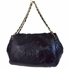 CHANEL Black Patent Leather CC Jumbo Gold Chain Flap Shoulder Bag Purse