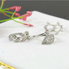3pcs Fashion Women's Alloy Rhinestone Leaf Above Knuckle Finger Ring Gold Silver