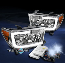 FOR 2007-2013 TOYOTA TUNDRA/2008+ SEQUOIA LED CHROME PROJECTOR HEADLIGHT +8K HID