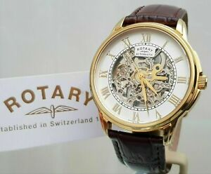Rotary Mens Watch Skeleton Automatic Watch Gold plated Brown leather RRP£220