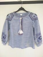 NEXT GIRLS CHILDS BLUE PATTERNED NAVY EMBROIDERED LONG SLEEVE TOP AGE 8 YEARS
