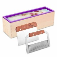 Silicone Soap Molds Kit Wavy & Straight Scraper Cutters Soaps Making Wood Box