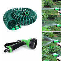 Retractable Coil Garden Hose Reel Pipe  Expandable Reel Spray Gun Tap Connector*