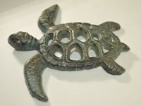 NAUTICAL CAST IRON METAL TURTLE, BRASS COLOR WITH VINTAGE GREEN PATINA DECOR.