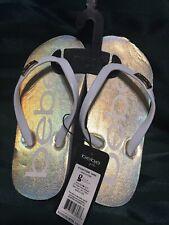 Bebe Girls Holographic Flip Flop Kids Slip On Summer Sandal Size 13
