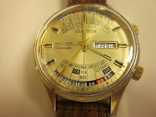 Vintage Clinton watch Triple calendar 17 jewels,Auto wind,Swiss Made,Early 1974