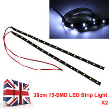 2x 15 LED 3528 SMD Ip65 Waterproof Flexible Strip Light -12v Car Home 30cm White