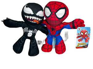 MARVEL Flexers SPIDER-MAN & VENOM Poseable Plush Figure Lot Walgreens Exclusives