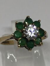 Vintage 9ct Yellow Gold Natural Emerald & CZ Flower Cluster Ring Size L H/marked