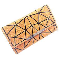 Orchid Bay Women's Geometric Cork Clutch Wallet, Vegan Magnetic Button Purse