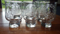 Pfaltzgraff Water Glasses Footed tumblers Partridge design and candle Design 6