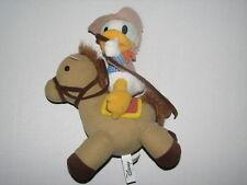"Disney Sega Plush Stuffed Donald Duck Cowboy Riding Brown Horse 11"""