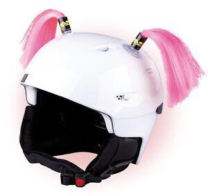 Zöpfchen für Skihelm Pink - rosa Zöpfe für Ski Helm Radhelm Fahrradhelm Bommel