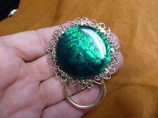 (E-717) GREEN Black Abalone shell Eyeglass filigree brass ID badge holder pin