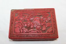 Vintage Asian Chinese Export Carved Red Cinnabar Box People Scene