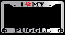 Chrome License Plate Frame I Heart My Puggle (Paw) Auto Accessory 535
