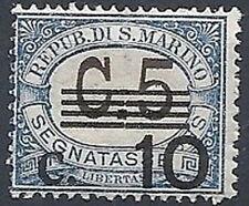 1936-39 SAN MARINO SEGNATASSE SOPRASTAMPATO 10 SU 5 CENT MNH ** - RR11624