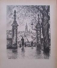 Ragimund Reimesch AREL - PETRUSTAL MIT SCHLOß Luxemburg 2 Drucke 1943 print