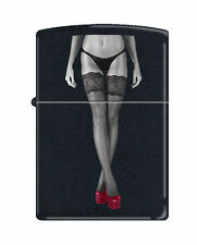 Zippo Lighter: Red Shoe Girl Number Eleven - Black Matte *Sexy Pin-up Girl*
