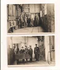 EARLY PHOTO-POSTCARDS OF A COAL BOILERROOM WORKERS AND POLICEMAN UNUSED