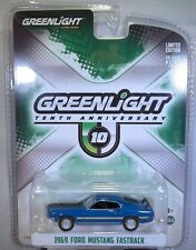 BLUE 1969 FORD MUSTANG FASTBACK GREENLIGHT 1:64 SCALE DIECAST METAL CAR