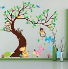 TREE WALL STICKERS Kids Baby Room Animals MONKEY ELEPHANT DEER OWL Removable