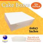 CAKE BOXES 6x6x3 Inches 10 pack White Brand New Wedding Cake Box-Cupcake