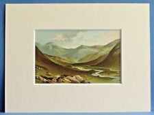 GLEN NEVIS NEAR FORT WILLIAM SUPERB QUALITY ANTIQUE MOUNTED CHROMO PRINT c1890