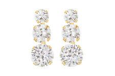 9ct yellow gold cubic zirconia triple cz /earrings / studs / Gift box
