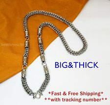 """BIG 5 HOOK THAI BUDDHIST AMULET PENDANTS 28"""" STAINLESS STEEL NECKLACE CHAIN 8MM"""
