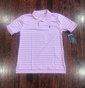 Boys Ralph Lauren Polo Pink Performance Collared Shirt Large