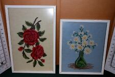 2 Vintage SHABBY CHIC Needlepoint Daisy and Rose Wall ART Framed Pictures